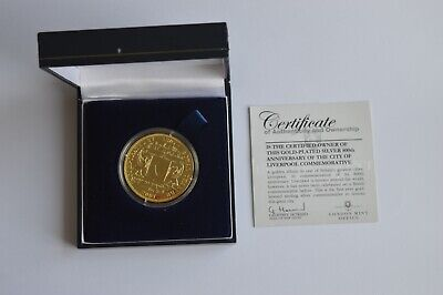 800th Anniversary Of The City Of Liverpool Gold Plated Silver Proof Medal/Coin • 34.95£