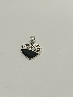 Whitby Jet And Sterling Silver Love Heart Pendant • 5.80£