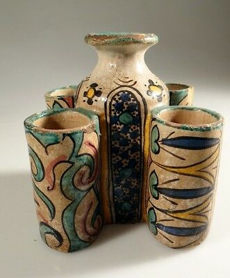 £116.82 • Buy Moroccan Ceramic Vase 5 Chambers Hand Painted Antique