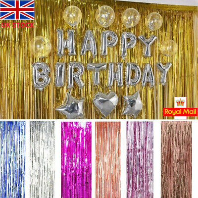 1MX2M Fringe Curtain Foil Tinsel String Shiny Shimmer Party Wall Decoration UK • 2.93£