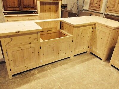 Bespoke Solid Wood Country Kitchen Cabinets UNFINISHED- 40mm Solid Pine Worktop  • 2,180£