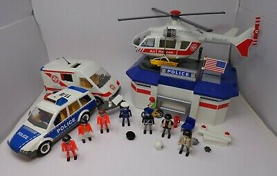 #3 Playmobil Police Ambluance Helicopter Figures Bike Large Mixed Bundle Lot  OS • 7.50£