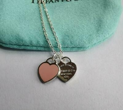 $52 • Buy Auth Tiffany & Co Return To Mini Double Heart Pendant Necklace Enamel Pink
