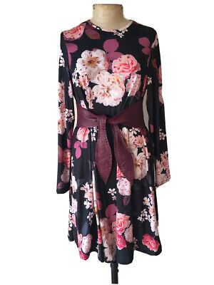 AU39 • Buy Asos \ 14 \ Floral Swing Dress Long Sleeve Knee Length Vintage Designer