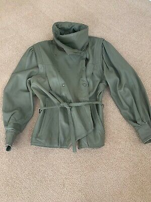 AU155 • Buy Yves Saint Laurent Vintage  Soft Leather Bomber Jacket In Olive Green Size Small