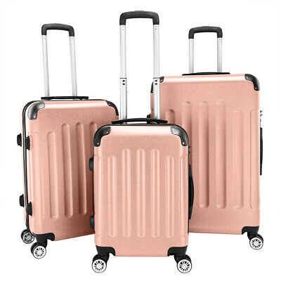 "View Details 3 X Luggage Set PC+ABS Trolley Spinner 20""/24""/28"" Suitcase Hard Shell Rose Gold • 89.79$"