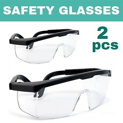 AU14.65 • Buy 2pcs Safety Glasses Work Goggles Eyewear Protective Industrial Lab Dust Droplets