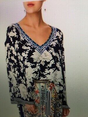 AU299.99 • Buy Camilla Franks Silk Sz-XL Ginza Gang V-Neck A Line Blouse