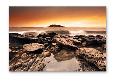 £23.99 • Buy Sunset Beach Surf Rocks Box Framed Stretched Canvas Wall Art Print