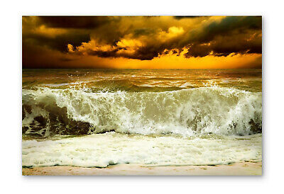£23.99 • Buy Stormy Beach Wave Sunset Box Framed Stretched Canvas Wall Art Print