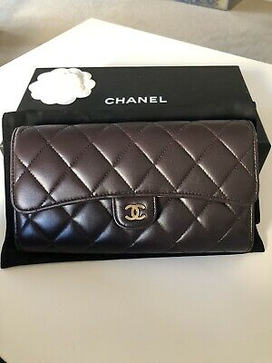 AU720 • Buy Authentic CHANEL Quilted Lambskin Purple Wallet