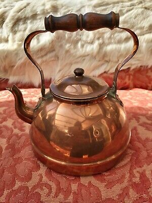 Vintage Copper Kettle Wood Handle Stove Top Country Kitchen • 15£