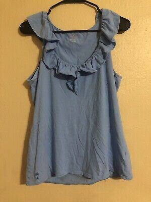 $25 • Buy Lilly Pulitzer Shay Ruffle Tank Top Blue Pima Cotton Size Large