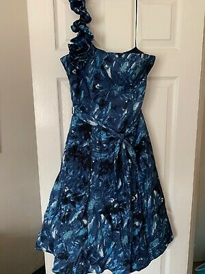 Ladies Used Rocha John Rocha Blue Patterned Even Dress Size 12 Net One Shoulder  • 10£
