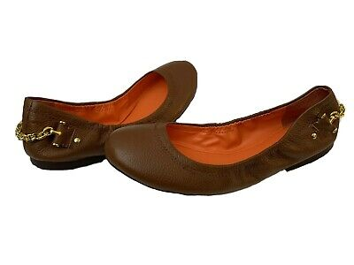 $25 • Buy NEW Ralph Lauren Slip On Brown Leather Ballet Flats Shoes Sz 8.5 Polo Gold Bling