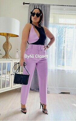 £36.58 • Buy Zara Lilac High-waisted Belted Pants (matching Blazer Available) 2158/789