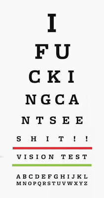 Framed Print - Funny Eye Chart (Picture Snellen Optician Glasses Vision Test) • 7.95£