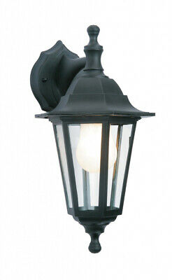 Wall-Mounted Outdoor Lantern Style Lamp Garden Light Black 6 Sided • 10.30£