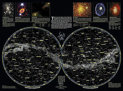 AU9.85 • Buy A3 Poster - Double Hemisphere Star Map Of The Galaxy (Picture Space Print Art)
