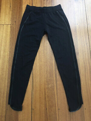 AU25 • Buy Womens Bershka Collection Black Leggings With Faux Leather Trim Size S - Nwot