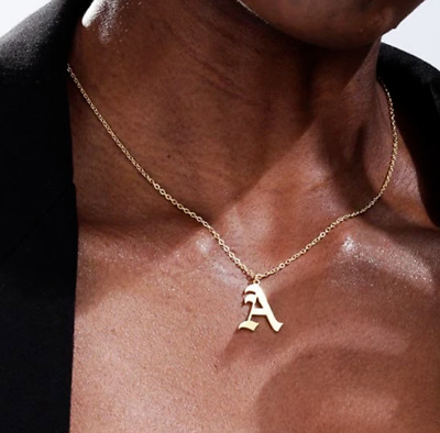 £2.99 • Buy Gold Silver Stainless Steel Olde English Alphabet Initial Letter Necklace  Uk