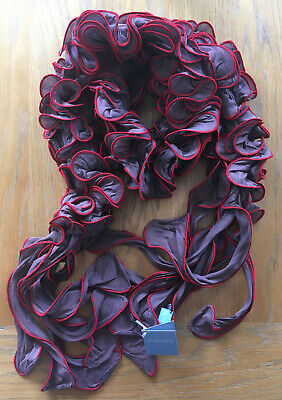 Beautiful Brown Red Ruffle Scarf By POWDER NEW (F13) • 5£
