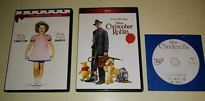 $18 • Buy 4 DVD'S Disney CINDERELLA, CHRISTOPHER ROBIN, CURLY TOP/DIMPLES (Shirley Temple)