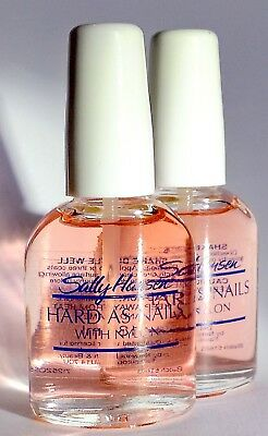 2 X Sally Hansen Hard As Nails With Nylon Natural 13.3ml - FREE DELIVERY • 5.90£