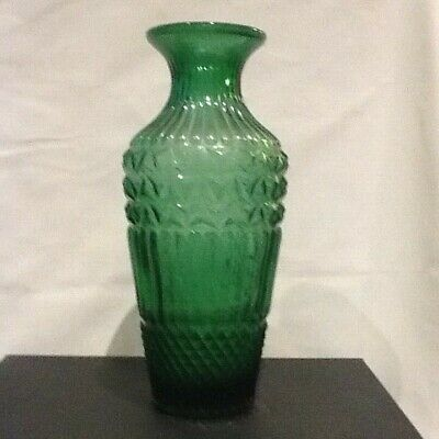 Victorian Pressed Glass Vase Forest Green • 14£