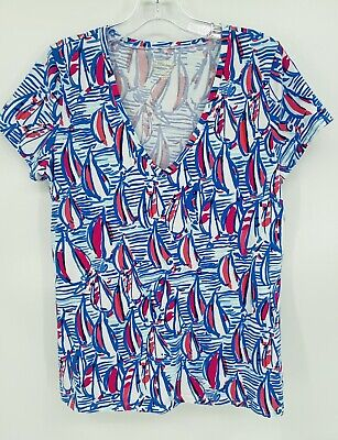 $35 • Buy EUC ~ Lilly Pulitzer, Michele Top In The RRR Red Right Return Print ~ Size Large