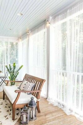 2 Panels 110x98 Lace Sheer Transparent Netting White Canopy Curtains IKEA LILL  • 10.16£