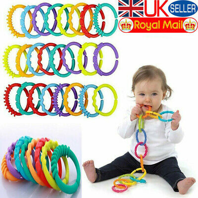 Plastic Baby Kids Infant Stroller Gym Play Mat Toys Rainbow Teether Ring Links • 2.39£