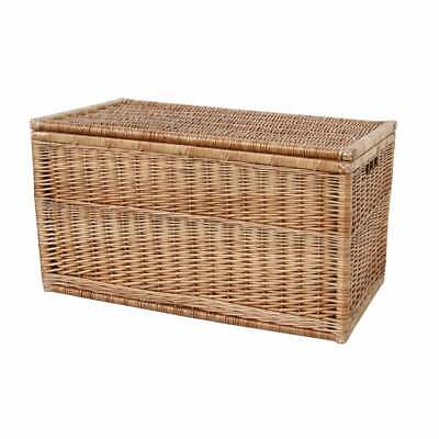 Natural Wicker Storage Trunk Woven Chest Rectangular Lidded Toy Linen Box • 145£