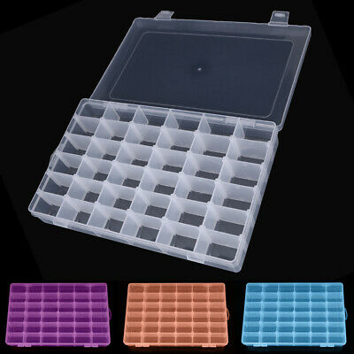 Adjustable 36 Compartment Plastic Storage Box Jewelry Earring Case • 6.50£