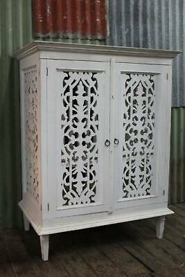 AU331.65 • Buy A Large White Cabinet Linen Press With Decorative Fretwork *FREE DELIVERY*T&C's