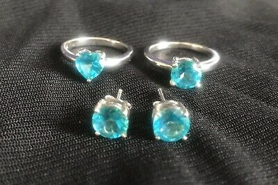 Gemporia Batalha Topaz Sterling Silver Heart Ring Round Ring & Earrings New!  • 20£