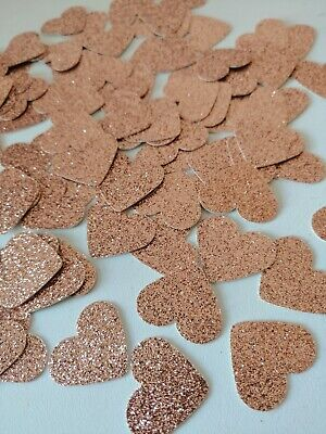 50 Glitter Rose Gold Hearts, Table Confetti, Arts And Crafts, School Projects • 1.85£