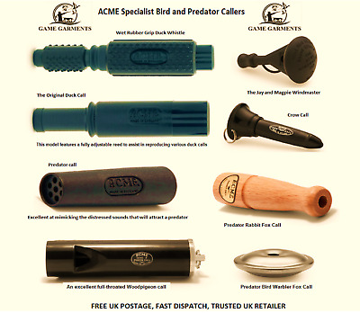 Quality Acme Bird Call Whistle. Mallard Duck, Crow, Jay & Magpie And Fox Callers • 6.95£