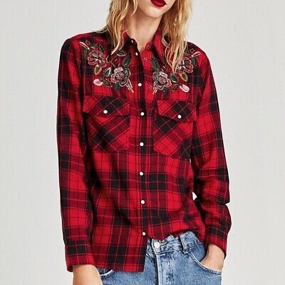$6 • Buy ZARA Red & Black Plaid Flannel Shirt With Floral Sequin Appliques Women's Small