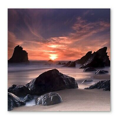 £24.99 • Buy Sunset Beach Seascape Cove Box Framed Stretched Canvas Wall Art Square