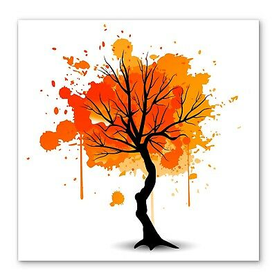 Orange Tree Autumn Abstract Box Framed Stretched Canvas Wall Art Square • 24.99£
