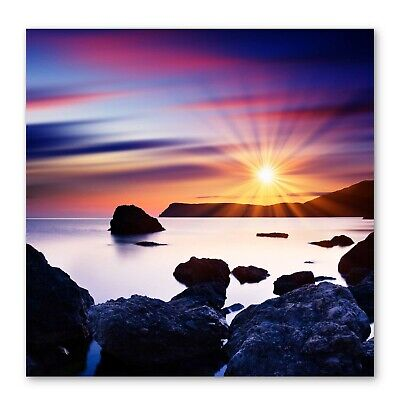 £24.99 • Buy Sunset Beach Rocks Cove Seascape Box Framed Stretched Canvas Wall Art Square