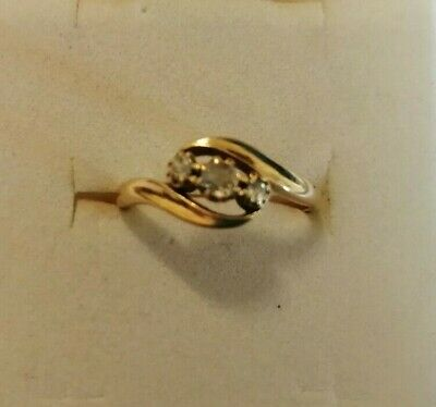 18ct Gold And Platinum Three Stone Diamond Crossover Ring Size K/L 2.4 Gms • 72.95£