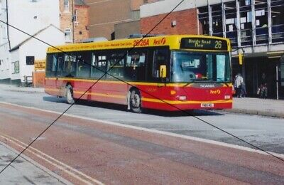 Bus Photo, First Potteries Of Stoke Photograph Picture Scania In Red And Yellow • 0.40£