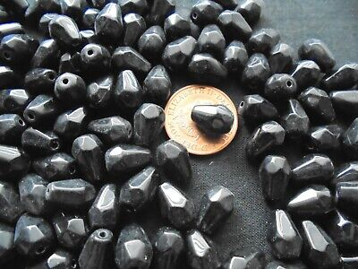 Job Lot Of 100 Grams Black Facated Teardrop  Glass Beads • 1.35£