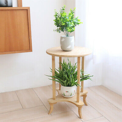 AU46.99 • Buy 2 Tier 4-Leg Coffee Table Bamboo Side Bedside Table Desk 55cm Tall 40cm Round