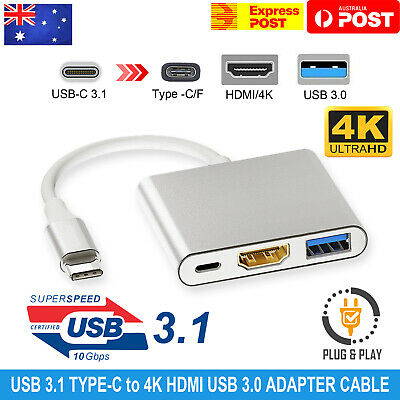 AU12.95 • Buy Type C To USB-C HDMI USB 3.0 Adapter Converter Cable 3 In 1 Hub For MacBook Air