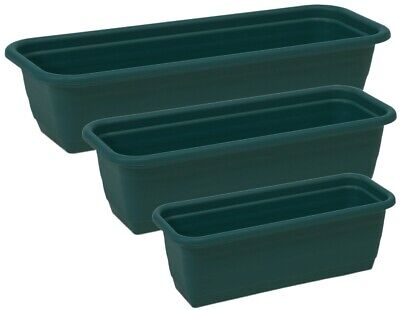 Green Trough Plant Pot Long Plastic Planter Home Garden Window Herb Flower Box • 13.99£