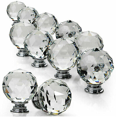 Clear Crystal Diamond Glass Door Knobs Cupboard Drawer Furniture Handle Cabinet • 4.95£