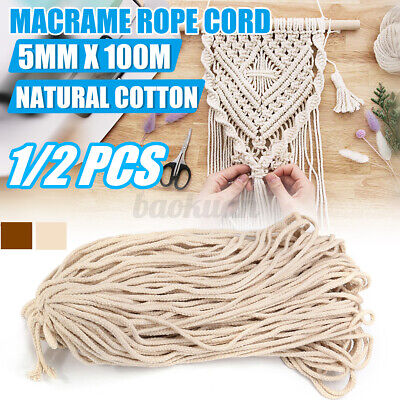 AU11.99 • Buy 5mm Macrame Rope Natural Cotton Beige Twisted Cord Artisans Hand Craft 100M AU